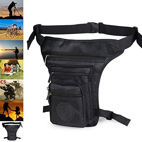 Bolsa de pierna moto hombre etanche táctico militar en oxfort-sacs plátano caja de pierna Bolsa de cinturón impermeable para senderismo camping bicicleta Deporte en plein air, Negro