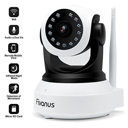 Caméra IP WIFI Fivanus Smart Caméra de Surveillance HD 720p Caméras de sécurité sans Fil Détecteur de Mouvement,Surveillance vidéo avec Audio Bidirectionnel, Mobile Remote Viewing, Vision Nocturne