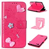 Ekakashop Wiko Fever 4G Custodia in Pelle, (con a Free Kickstand) Fashion Moda Colorate Painted Ragazza Fantasia Luxury Libro Wallet Diamante Love Hearts Pu Pelle Leather Morbido Silicone Inner Shell Disegno Magnete Flip Folio Protettiva Case Cover Cassa con Stand & Card Holder for Wiko Fever 4G - Rosa caldo