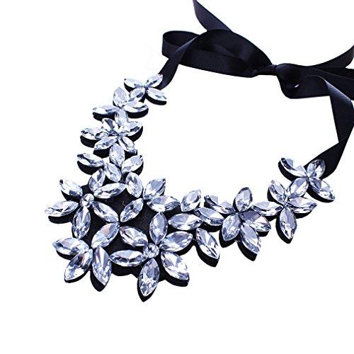 YAZILIND Flower Ribbon Kette Halskette Anhänger Bib Crystal Elegante Halsreif Klobige Kragen Frauen Schmuck Klar