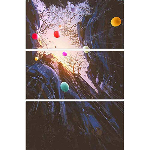 ArtzFolio Colored Balloons Floating Into The Sky Split Art Painting Panel On Sunboard 24 X 35.6Inch -
