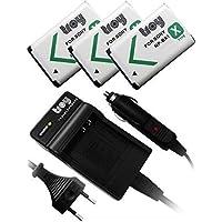 3 x batteries + chargeur pour SONY NP-BX1 convient pour SONY Cybershot DSC X60 dsc HX60V HX400 NPBX1 MV1 Musique Enregistreur vidéo HDR MV1 Hasselblad Stellar stellar II DSC-HX80 DSC-HX60B DSC-WX350P