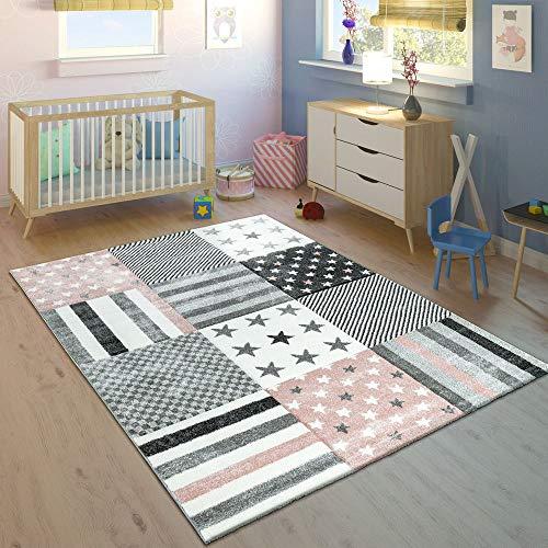 Paco Home Alfombra Infantil Contorneada Estampado Estrellas Rosa Crema Colores Pastel, tamaño:Ø 120...