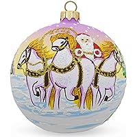 8,3cm Santa in inverno equitazione 3bianco cavalli palla di vetro di Natale ornamento