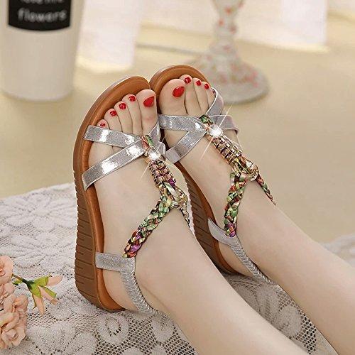 XY&GKSommer Sandalen, flache Unterseite Heel Leder Steigung und Strand sandals, komfortabel und schön 39 Silver