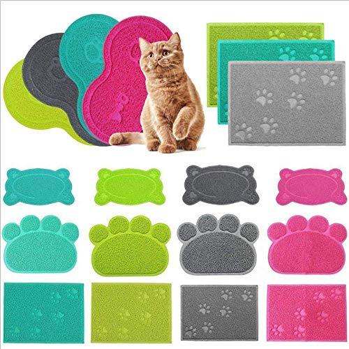 Haustier Hunde/Katze Napfunterlage Napfuntersetzer Futterunterlage Futtermatte wie Wolken LianLe (grau, Katzenform)
