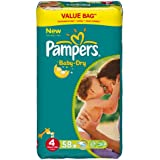 Pampers Baby Dry Couches Maxi 7-18 kg Taille 4 Format Economique x 58
