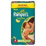 Pampers Baby Dry Pañales Maxi 7–18kg Tamaño 4formato económico x 58