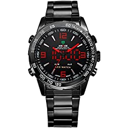 Alienwork DualTime LED Analogue-Digital Watch Multi-function Wristwatch Stainless Steel black black OS.WH-1009-B-4
