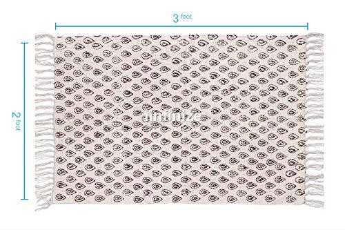 IINFINIZE 91,4 x 60,9 cm indischer Blockdruck Vintage Teppich Fußmatte Handloom Gewebter Kilim Teppich Handarbeit Natur Baumwolle Dari Gebetsmatte 100% Baumwolle Blockdruck Arbeitsteppich -