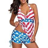 Jaminy Zweiteilig Gebunden Strandmode Bikinioberteil Amerikanisch USA Flagge Drucken Frau Bandage Badeanzug Bademode Strandkleidung Bandeau Strandmode Bikini Set (Rot, S)