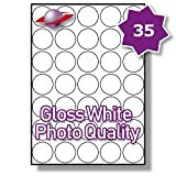 35 Per Page/Sheet 5 Sheets (175 Sticky SMALL ROUND PHOTO GLOSS Labels) Label Planet® White Glossy Self-Adhesive Blank Plain A4 Permanent Premium Quality Stickers, For Printing With Laser/INKJET Printers, UK LP35/37R GWPQ, 37MM Diameter Circles