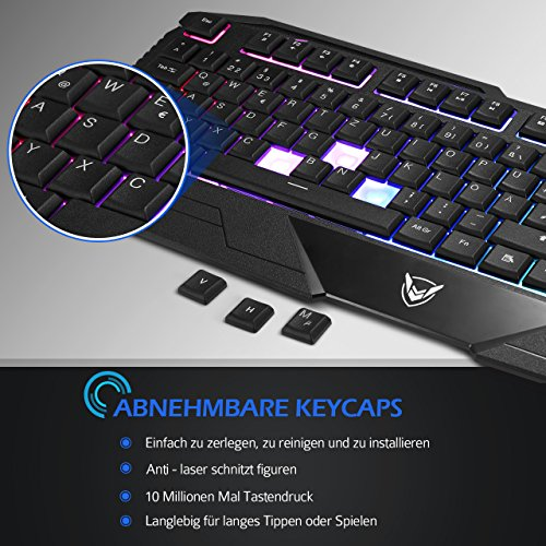 Gaming Tastatur, Pictek 26 Key Anti-Ghosting-Tastatur mit verstellbarer Rainbow LED-Hintergrundbeleuchtung, ergonomische Handballenauflage, wasserdichte Computer-Tastatur für Gamer-Typisten - 7