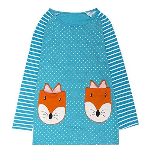 JERFER Baby Kleinkind-Mädchen Langarm Herbst Karikatur Prinzessin T-shirt Kleid 2-6T (D, 4T) (Pferd-shirt)