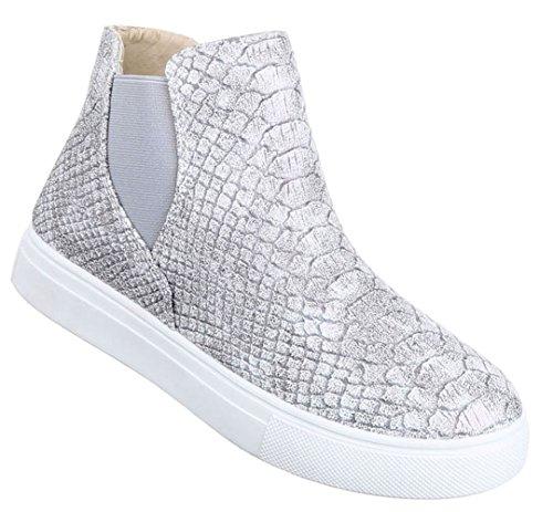 Damen Boots Schuhe Stiefeletten Schwarz Silber Braun Grau Pink 36 37 38 39 40 41 Grau