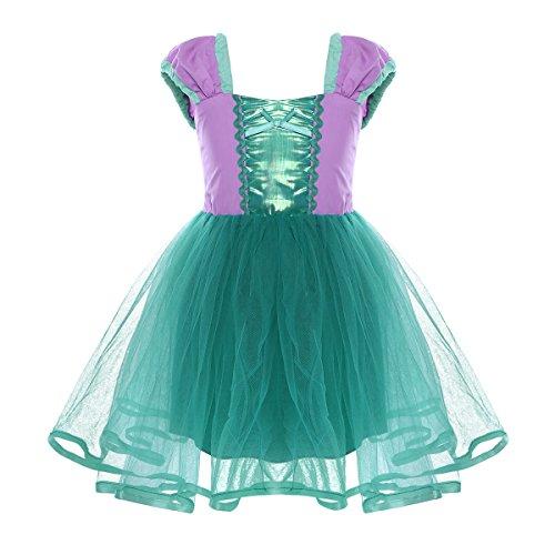 dPois Mädchen Prinzessin Kleid Kurzarm Märchen Kleid Kostüm Kleinkind Partykleid Kinderkostüm für Geburstag Halloween Karneval Fasching Kostüm Verkleidung Grün 104-110/4-5 Jahre