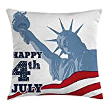 VICKKY 4th of July Throw Pillow Cushion Cover, Festive Independence Day Design with Old Glory Stripes and Stars Lady Liberty, Decorative Square Accent Pillow Case, 18 X 18 Inches, Multicolor