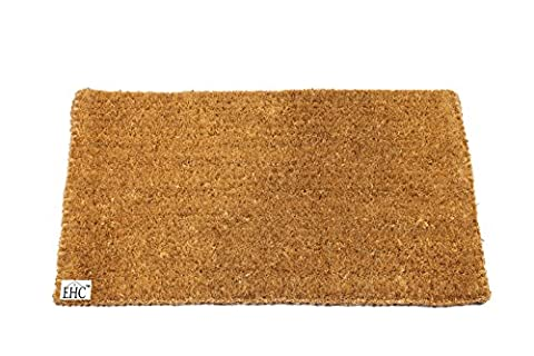 EHC 40 x 70 cm Natural Coco Plain Brush Beech Coir Door Mat, Beige