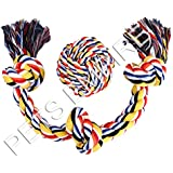 Pets Empire Cotton Blend 3-Knot Tug Chew Toys + Knotted Ball For Dogs Chewing And Playing - 2 Pack Gift Set