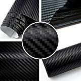 Rapid Teck® 3D Carbon Autofolie Schwarz 2m x 1,52m flexieble Car Wrapping Folie mit Luftkanälen