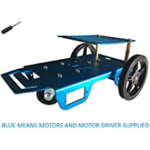 Feetech FT-MC-002-SMC Blue Aluminum Robot Vehicle Chassis with FT-SMC-2CH DC motor drive board for Arduino Servo Library