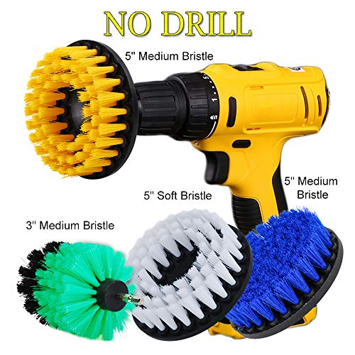 OxoxO 4pcs Drill Brush Soft Medium Stiffness Bristle Scrub Attachments Cleaning Kit for Bathrooms Tile Glass Carpets Upholstery Outdoors Siding Brick - Garage Floor Kit