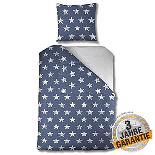 Aminata kids schöne Bettwäsche Sterne 135 x 200 cm + 80 x 80 cm Mädchen, Jungen aus Baumwolle mit Reißverschluss, unsere Kinder-Bettwäsche-Set mit Stern-Motiv ist weich und kuschelig, blau, weiß