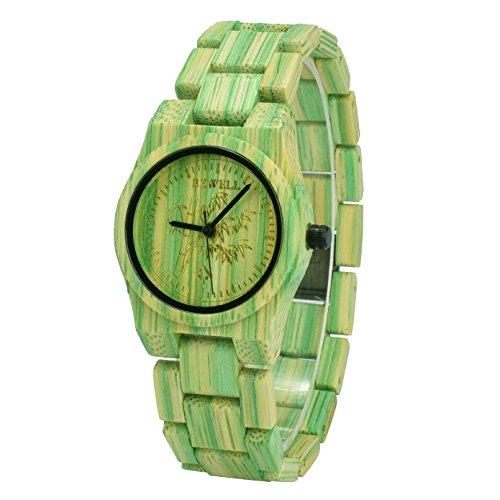 Bewell W105D Paar Modelle Bunte Bambus Holz Armbanduhren Hypoallergen Naturholz Quarz Analog Uhr (Grün)