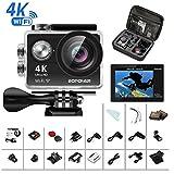 4K Action Cam, Bopower Sport Camera HD WIFI 60fps Impermeabile Anti-scuotimento Videocamera Fotocamera Digitale Cam con Remoto 2.4G, con Kit di 22 Accessori incluso