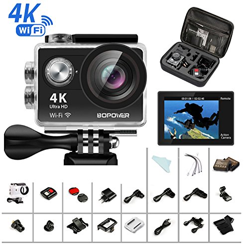 4k action cam, bopower sport camera hd wifi 60fps impermeabile anti-scuotimento videocamera fotocamera digitale cam con remoto 2.4g, con kit di 22 accessori incluso