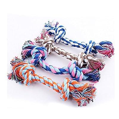BADAlink Juguete Mordedor Diseño Hueso Cuerda Trenzada Algodón para Perros Mascotas cuerdas nudos forma de hueso juguete para perro mascota mastica morder limpio diente con una pelota de regalo (Color al Azar x 1)