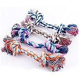BADAlink Juguete Mordedor Diseño Hueso Cuerda Trenzada Algodón para Perros Mascotas cuerdas nudos forma de hueso juguete para perro mascota mastica morder limpio diente con una pelota de regalo (Color al Azar)