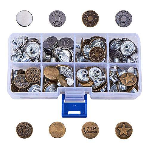 80 Set Jeansknöpfe Metallknöpfe Snap Button für Jeans mit Aufbewahrungsbox, Set Knöpfe, Hosenknopf, Hosenknöpfe, Ersatzknopf, Jeansknopf, Knopf aus Metall, 8 Muster, Bronze und Silber Farbe