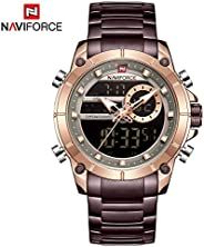 Naviforce Men's Rose Gold Dial Stainless Steel Analogue Classic Watch - NF9163-