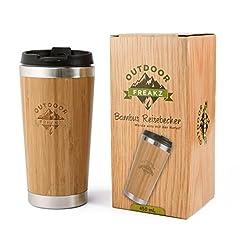 Idea Regalo - Outdoor Freakz, tazza da viaggio in acciaio inox e bambù