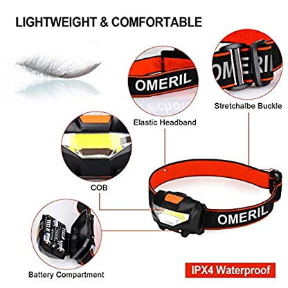 OMERIL LED Head Torch, Lightweight COB Headlamp with 3 Modes, IPX4 Waterproof, Super Bright 150 Lumens LED Headlight for Kids&Adults, Running, Fishing, Camping, Hiking, DIY[3*AAA Batteries Included] 2