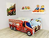 Alcube Kinderbett ab 2 Jahre aus MDF mit Matratze bis 150 Kg Truck Feuerwehr 140 x 70 cm