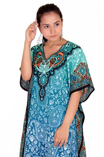 Tunique Caftan Kimono Robe Vêtements De Nuit Nightgown Femmes Été Soirée Maxi Longueur Fête Grande Taille 10 12 14 16 18 20 22 24 26 28 Sarcelle