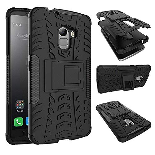 DMG Lenovo K4 Note Kickstand Tough Hybrid Dual Armor Back Case Cover (Black)