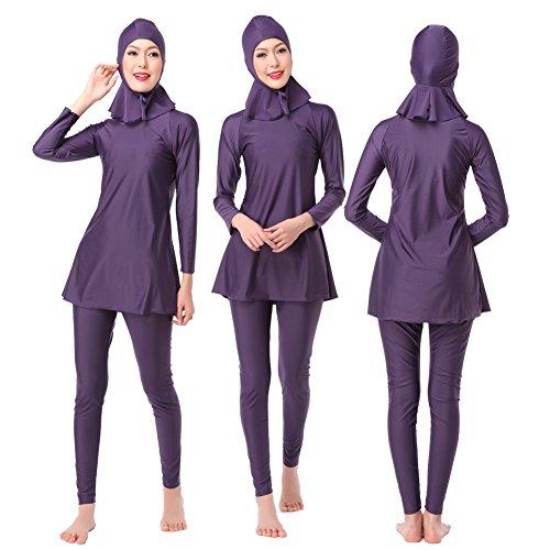 WSPACE Muslimischen Badeanzug,Muslim Islamischen Bescheidene Badebekleidung Modest Swimwear Beachwear Burkini für Damen Swimwear Beachwear Schwimmanzug konservativer, kurzärmliges Hemd mit Kappe (De Prendas Vestir)
