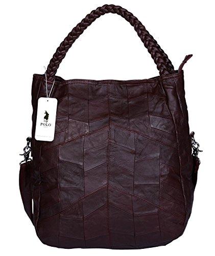 VIDENG POLO Frau Ziegenfell Leder Tote Handtasche Hobo Crossbody Umhängetasche Satchel für Damen (Weinrot-groß) (Handtasche Weiche Hobo Große)