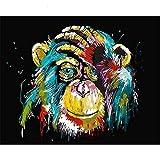 DIY Peinture à l'huile Peinture par numéro kit pour enfants adultes débutants 40,6x 50,8cm–Tête de singe toucher, le dessin avec un pinceau de Noël Décor Décorations cadeaux Without Frame