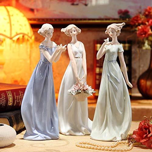 ZTGZMH Dekoration Ornament Vintage Porzellan Mädchen Figur Statue Keramik Belle Miniatur Schönheit Ornament Zubehör Für Wohnkultur Kunst Sammeln Handwerk, Vogel Stil, M
