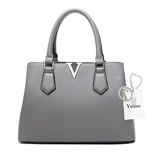 Borse per donne Yoome per le donne Crossbody Lichee Top Handle Tote Handbags di grande capacità - L.Grey Grigio