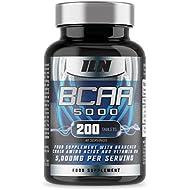 BCAA 5000 - 5,000mg BCAAs Serving - BCAA Food Supplement - 40 Servings (200 BCAA Tablets)