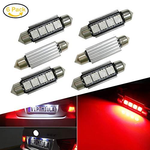 Lianqi 6-Stück 4-SMD-Fehler geben 6411 578 Auto-Innenhaube-Girlande-Glühlampe Birne für Lichtkuppel/Navigationslichter,Soffitte Lampe Licht Rot DC 12V