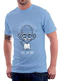 The Souled Store GANDHI: Peace Out Bro! Peace Printed LIGHT BLUE Cotton T-shirt For Men Women And Girls