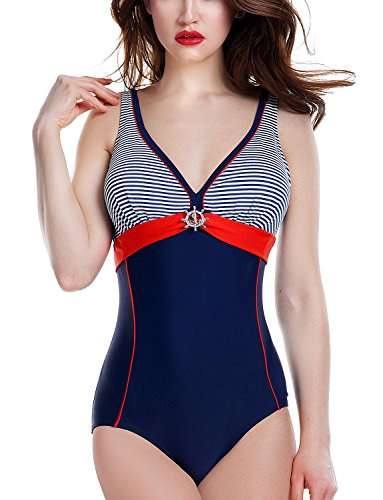 Ewlon Aqua Badeanzug Dame Bademode Triangel Soft regulierbar gestreift V-Ausschnitt EU, Größe 40, dunkelblau-rot