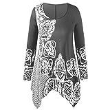 Damen Elegante Langarmshirts Sannysis Lose Asymmetrisch Blumendruck Bluse Rundkragen Tunika V-Ausschnitt Sweatshirt Oberteil