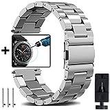 Gear S3 Frontier/Classic Armband Frauen Männer, OTOPO 22mm Metallarmband Armband Edelstahl Uhrenarmband Ersatz für Samsung Gear S3 Frontier/S3 Classic Smart Watch (Metall Silber)